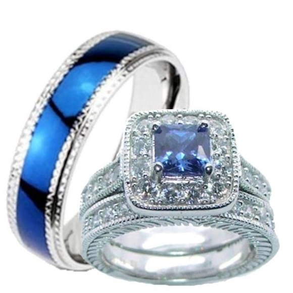 c535c526d30 His Hers Sapphire Blue Clear Cz Wedding Ring Set. Boutique. Edwin Earls
